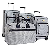 Nicole Miller New York Taylor Set of 4: Box Bag, 20'', 24'', 28'' Expandable Spinner Luggages (Black/White Plaid)