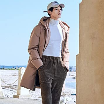 Abrigos Chaquetas Chaqueta con Capucha de algodón para Hombre Chaqueta de algodón Pato Blanco Grueso Chaqueta