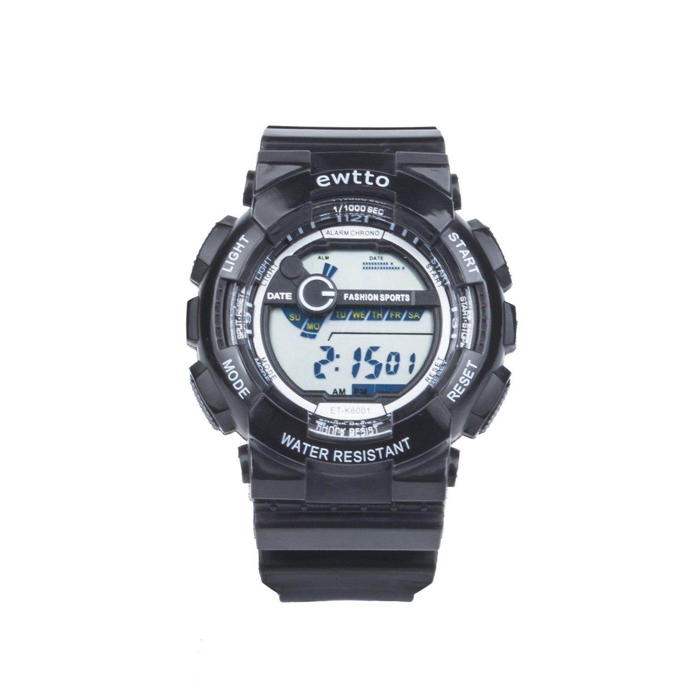 Ewtto – reloj de pulsera deportivo digital con retroiluminación LED, resistente al agua, indica el día y fecha, alarma y cronómetro, 0.11 pounds, ...