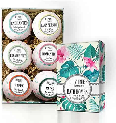 6 XL USA Made Lush Bath Bombs Kit - Organic Coconut oil and Shea Butter - Christmas Gift For Women and Her - Bath Fizzies - Best Gift Ideas and Gift Sets - Use with Bath Bubbles Basket Bath Beads