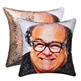 cygnus Sequin Mermaid Pillow Cover Danny Devito Face Funny Reversible Magic Throw Pillow Case That Color Changes 16x16 (Champagne Gold)