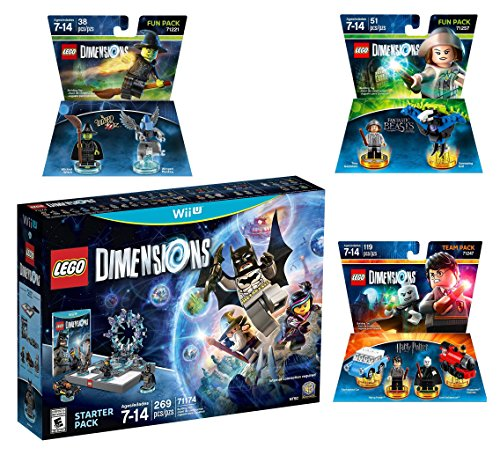 Lego Dimensions Magical Starter Pack + Harry Potter Team Pack + Fantastic Beasts Tina Goldstein Fun Pack + The Wizard Of Oz Fun Pack for Nintendo Wii U Console by WB Lego