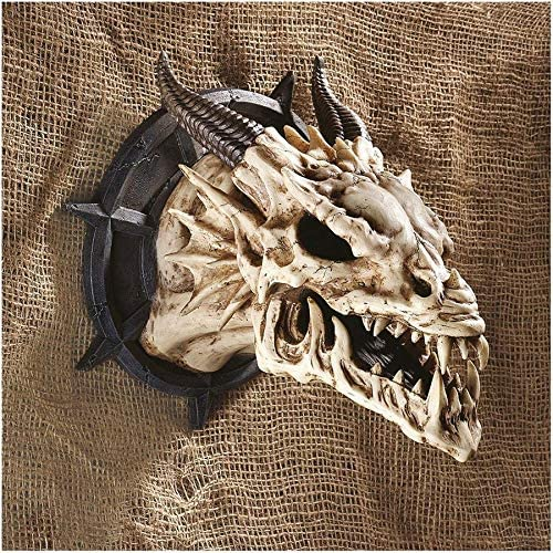 Design Toscano Horned Dragon Skull Trophy Gothic Decor Wall Sculpture, 10 Inch, Single