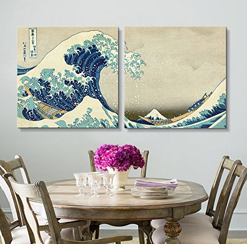 2 Panel Square The Great Wave by Hokusai x 2 Panels