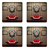 Lunarable Antique Coaster Set of Four, Wall and Chair Vintage Picture Frame Vertical Striped Background Timber Floor Image, Square Hardboard Gloss Coasters for Drinks, Multicolor