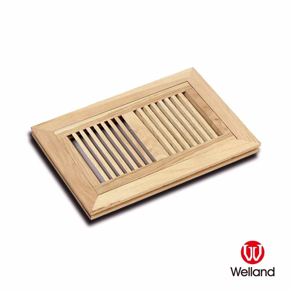 WELLAND Wood Vent Cover Floor Register Louvered with Frame Flush ...