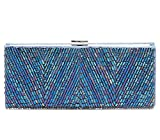 Sondra Roberts Satin Glass Bead Clutch, Blue