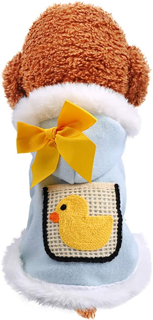 OOEOO Pet Clothes for Dog Cat Puppy Cute Duck Printed Coat Winter Sweatshirt Warm Sweater Dog Outfits