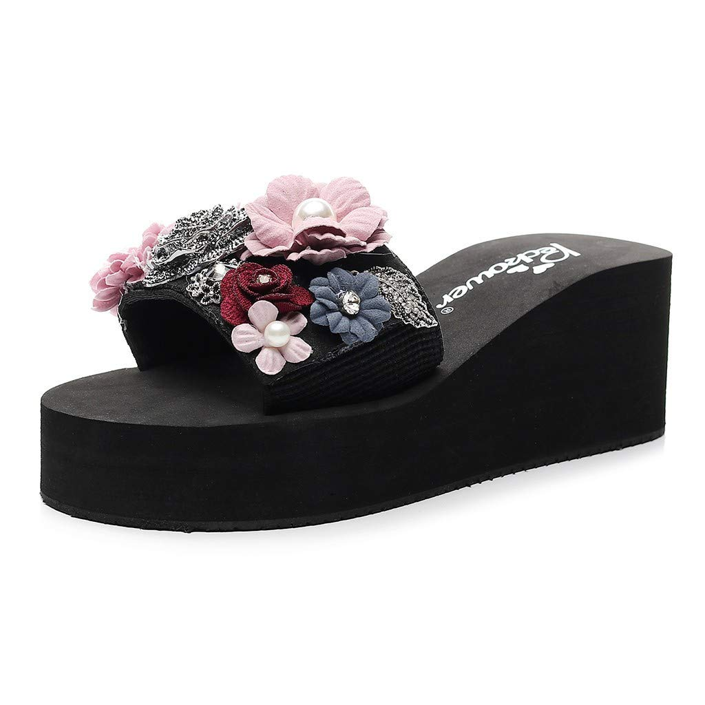 KAIXLION Women Flats Flip Flops Floral Bohemian Style Shoes Summer Beach Sandals Wedge Slippers Pink by KAIXLION Shoes