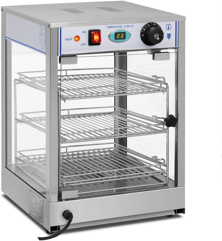 Royal Catering Vitrina Caliente Calentador Eléctrico RCHT-850 (850 W, Rango de temperatura 0-85°C, Cajón para recoger los restos de comida, Separación entre los estantes 11 cm)
