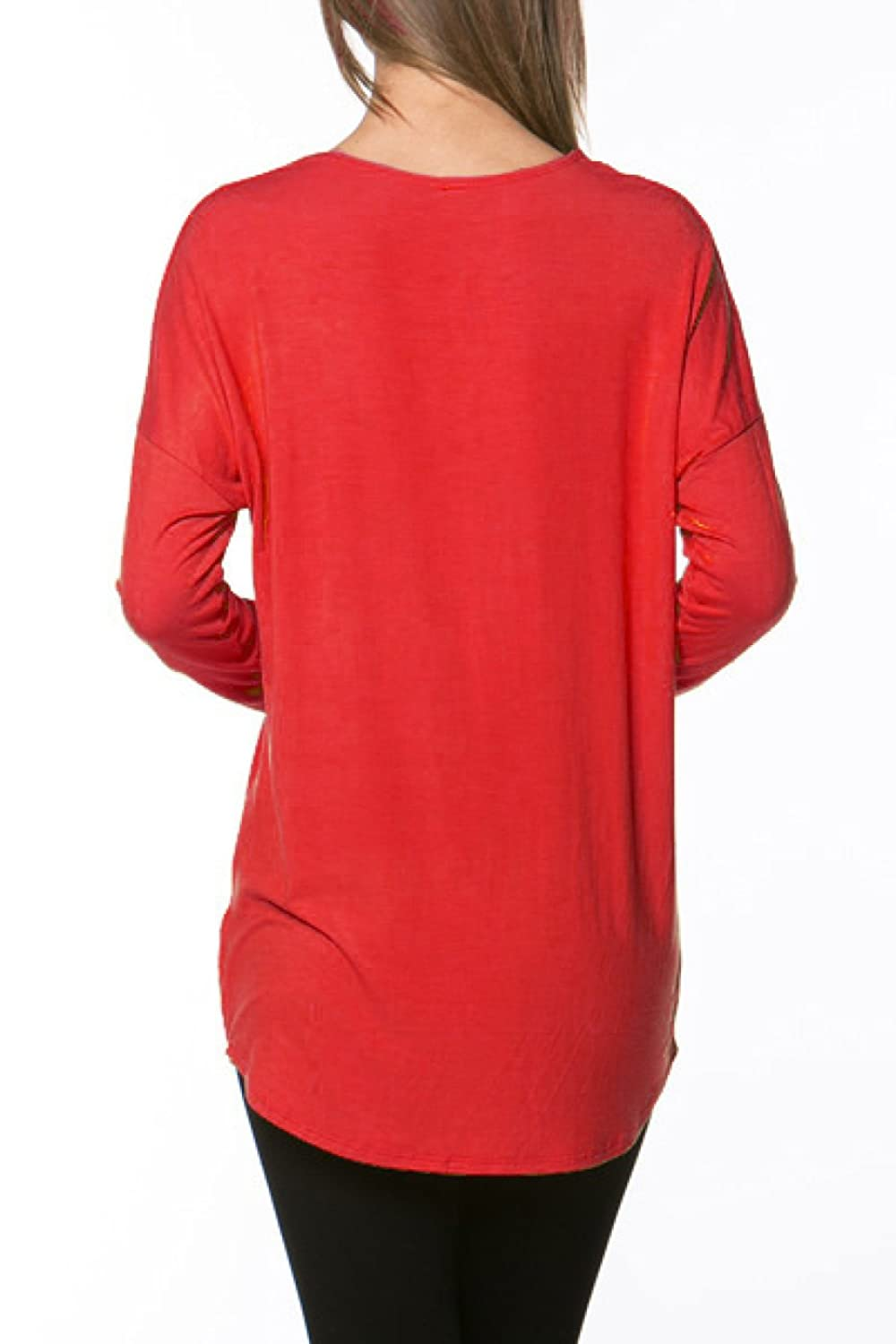 2LUV Women's Trendy Knit Long Sleeve Tunic Top