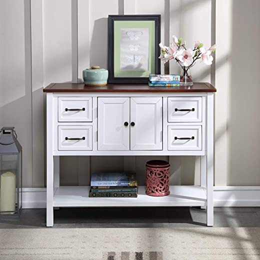 Wood Console Table, Sofa Table for Living Room with Drawers, Cabinet and Shelf, White and Brown