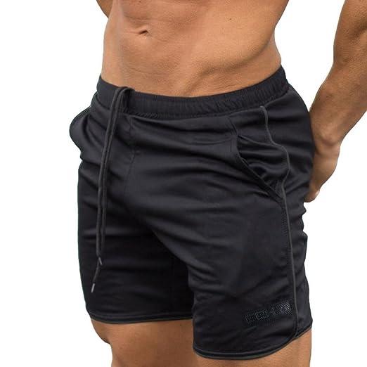 2e0b7b270c9 Hattfart Men's Fitted Shorts Bodybuilding Workout Gym Running Tight Lifting  Shorts (Black, ...