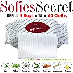 SofiesSecret PET BATH Wipes REFILLS for Dogs + Cats, infused with 100% Natural & Organic Extracts, 60 XXL Rinse Free Grooming Wipes for Paws, Coat, Face, Ears, Skin, Teeth