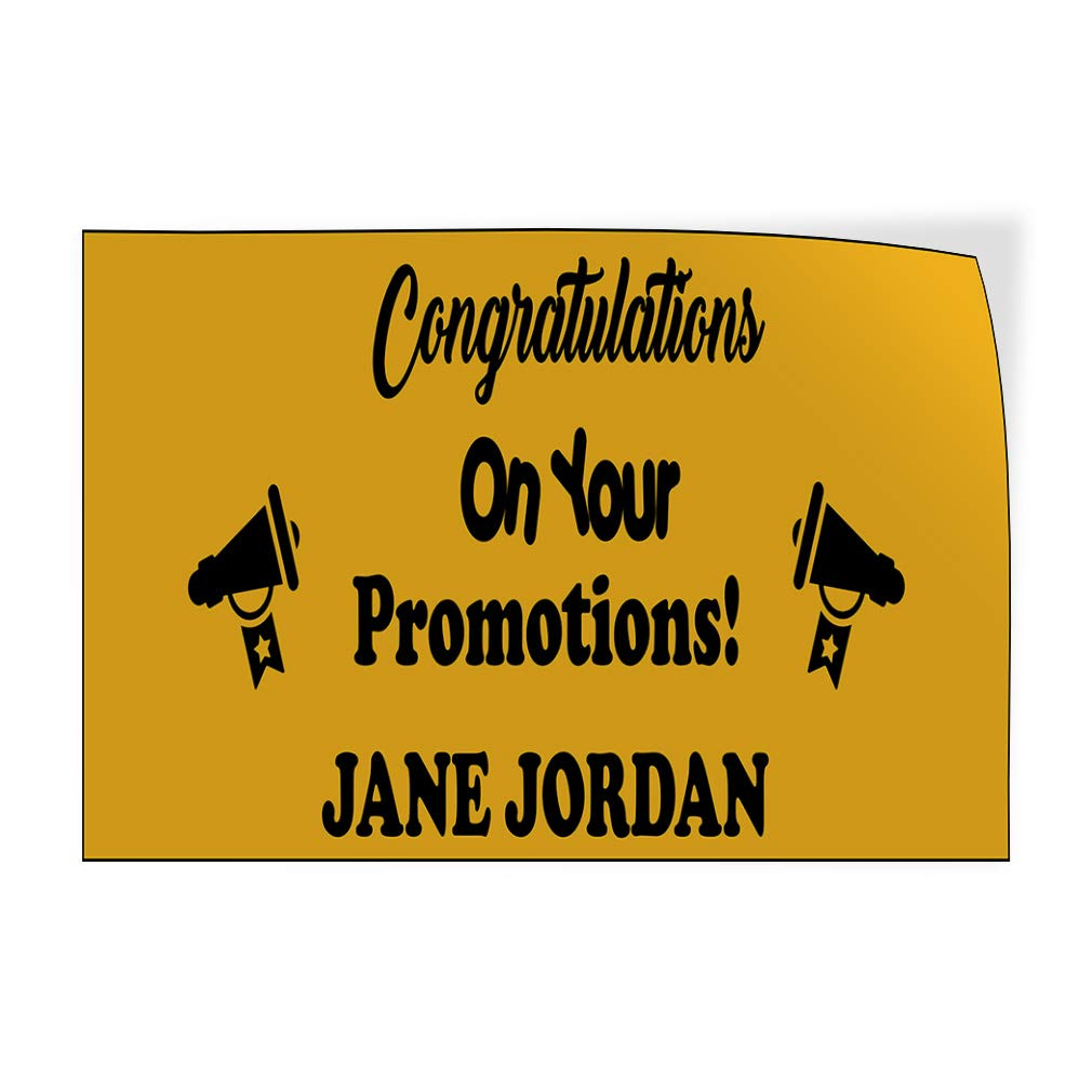 Custom Door Decals Vinyl Stickers Multiple Sizes Congratulations Promotions Business Employee Recognition Outdoor Luggage /& Bumper Stickers for Cars Yellow 69X46Inches Set of 2