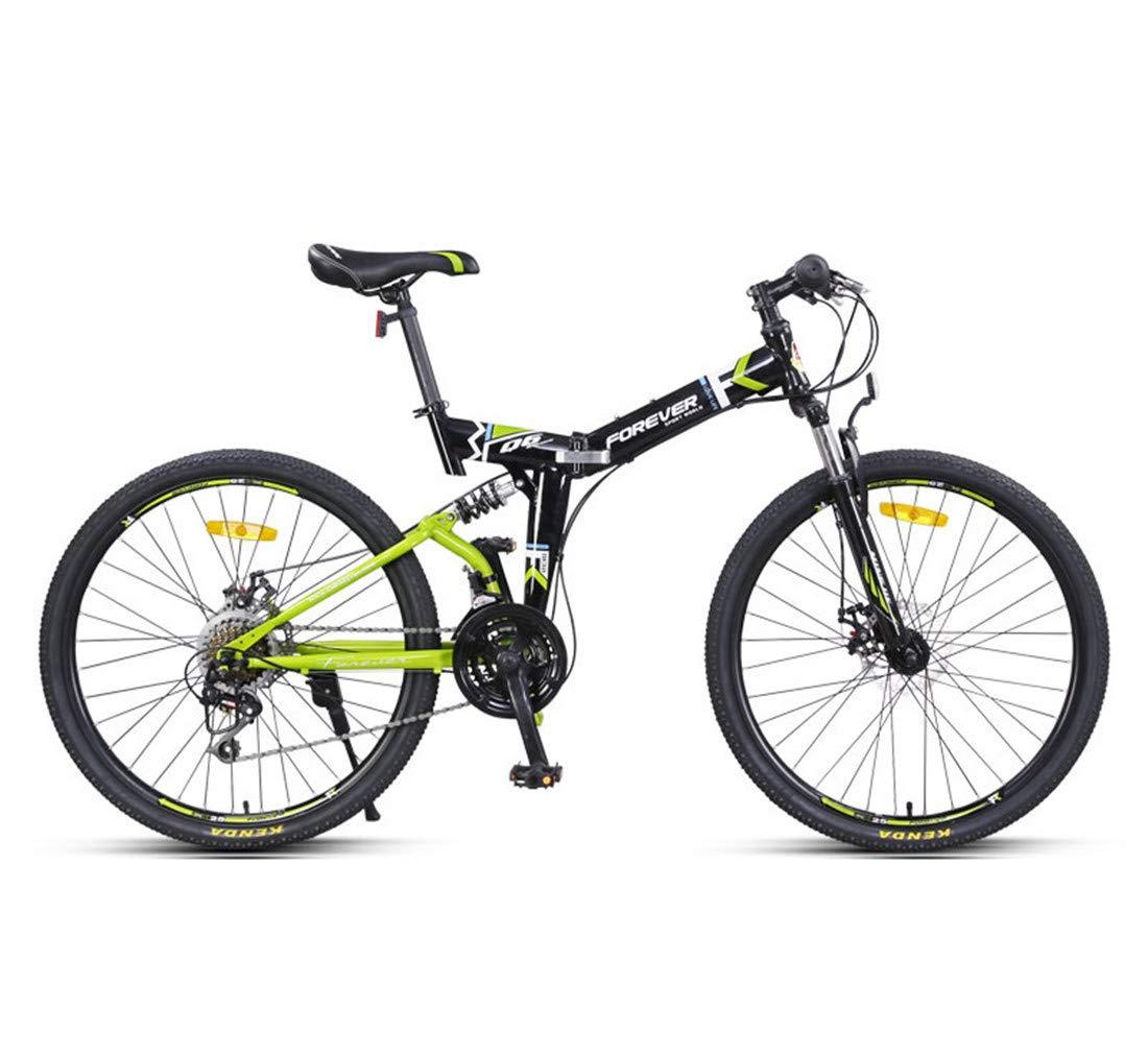 男女兼用の大人のための都市バイク24速の通勤用自転車の折目の高炭素の鉄骨フレーム 26inch green B07PC178YN