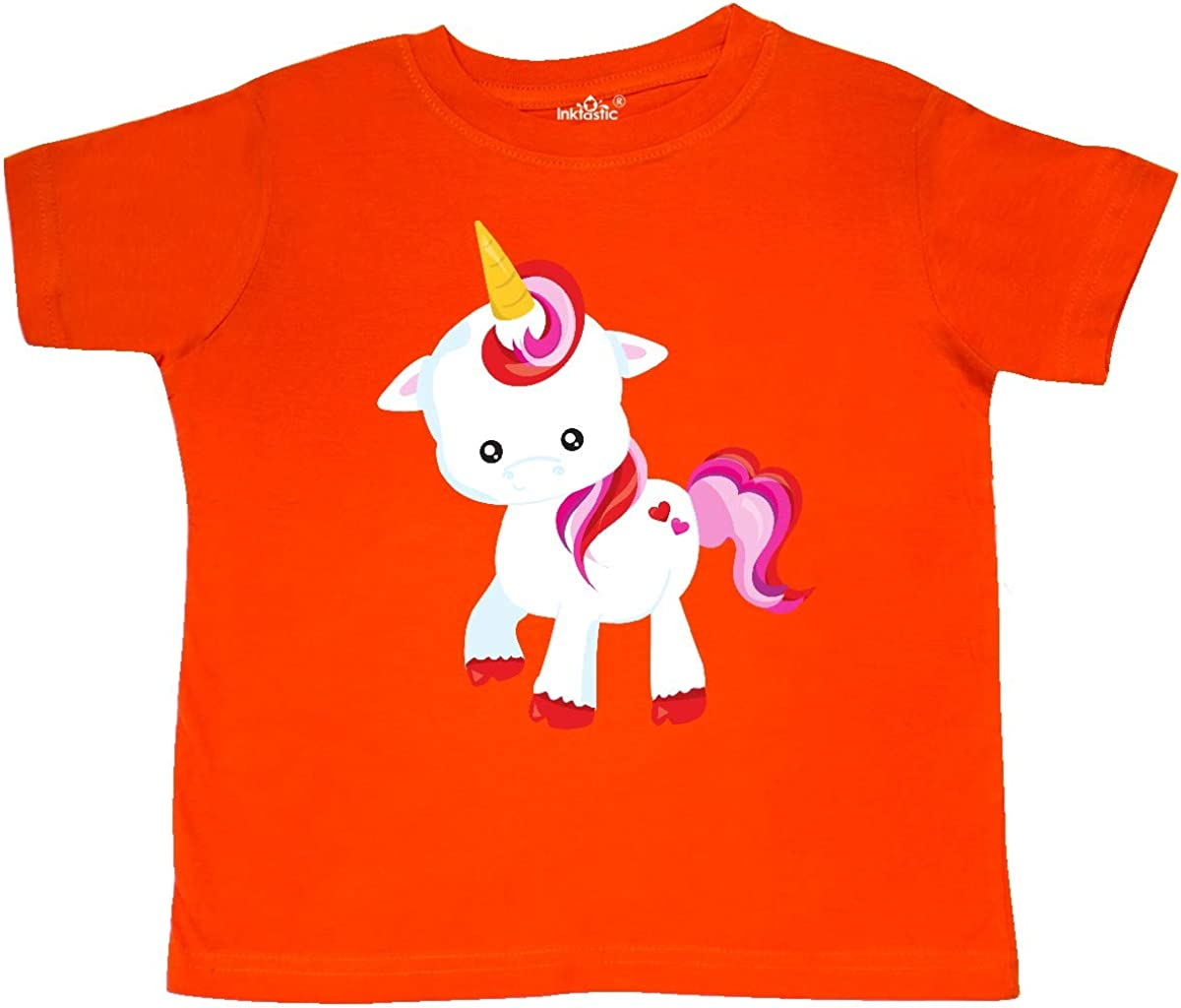 Hearts Toddler T-Shirt inktastic Cute Little Unicorn Red and Pink Mane