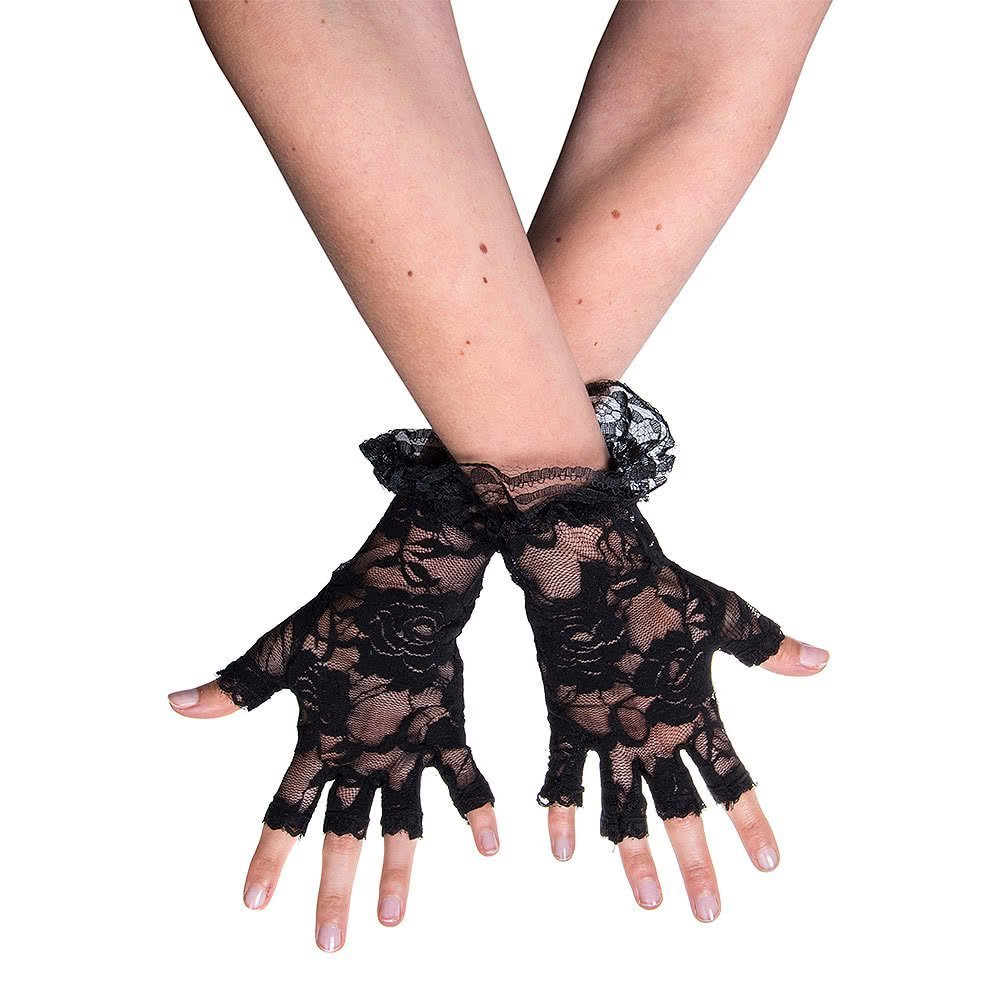 Black Halloween Fingerless Lace Gloves