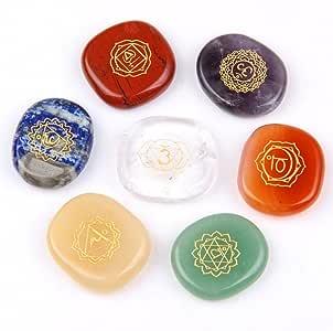 JD.Gems Chakra Stones-Reiki Healing Crystal with Engraved Chakra Symbols Holistic Balancing Polished Palm Stones Set of 7