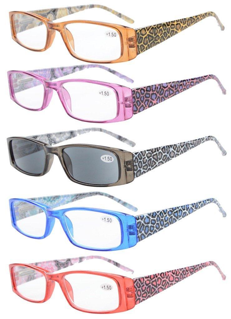 Eyekepper 5-Paia cerniere a molla Tiger Patterned Templi Rettangolare occhiali da lettura anche da s...