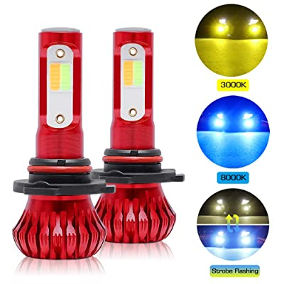 9005 LED Fog Light Bulbs, Dual Color + Flicker Flash Model All-in One Conversion Kit, COB Chips 8000LM Extremely Bright HB3 9145 Car DRL Fog Lights Replacement, 3000K Yellow Amber 8000K ICE Blue: Automotive