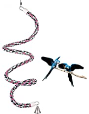 Abestbox Bird Spiral Rope Bungee Perch, Cotton Parrot Swing Toys, Bird Climbing Standing Rope with Bell