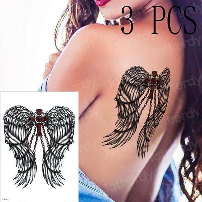 tzxdbh 3 Unidades/Pieza Tatuaje Temporal Negro Rosa alas de ángel ...