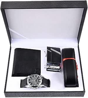 Juego de reloj, cinturón y cartera Souarts de piel sintética, para hombre: Amazon.es: Relojes