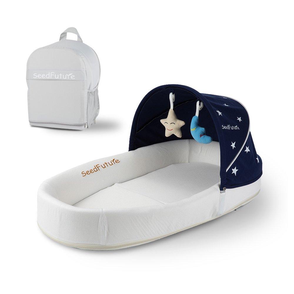 Newborn Baby Bassinets Portable Travel Crib Infant Nest Lounger Sleeper With Canopy (Bule) Ltd.