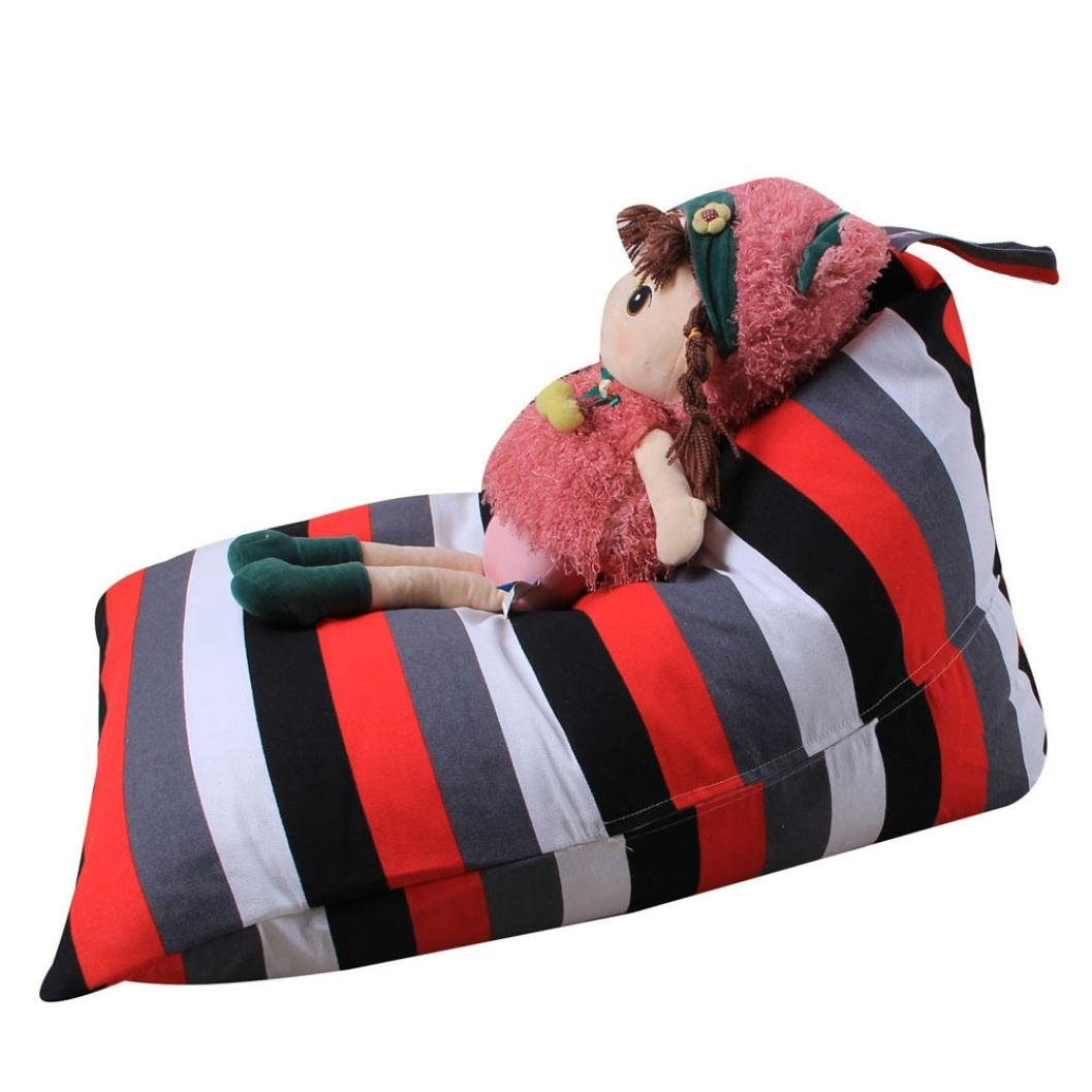 Cinhent Bag 1PC Cute Home & Living Kids Stuffed Animal Plush Toy Towels Clothes Socks Etc Storage Bean Bag, Home Supplies,Soft Pouch Stripe Fabric Chair,Size: 65×95×55 CM (C)