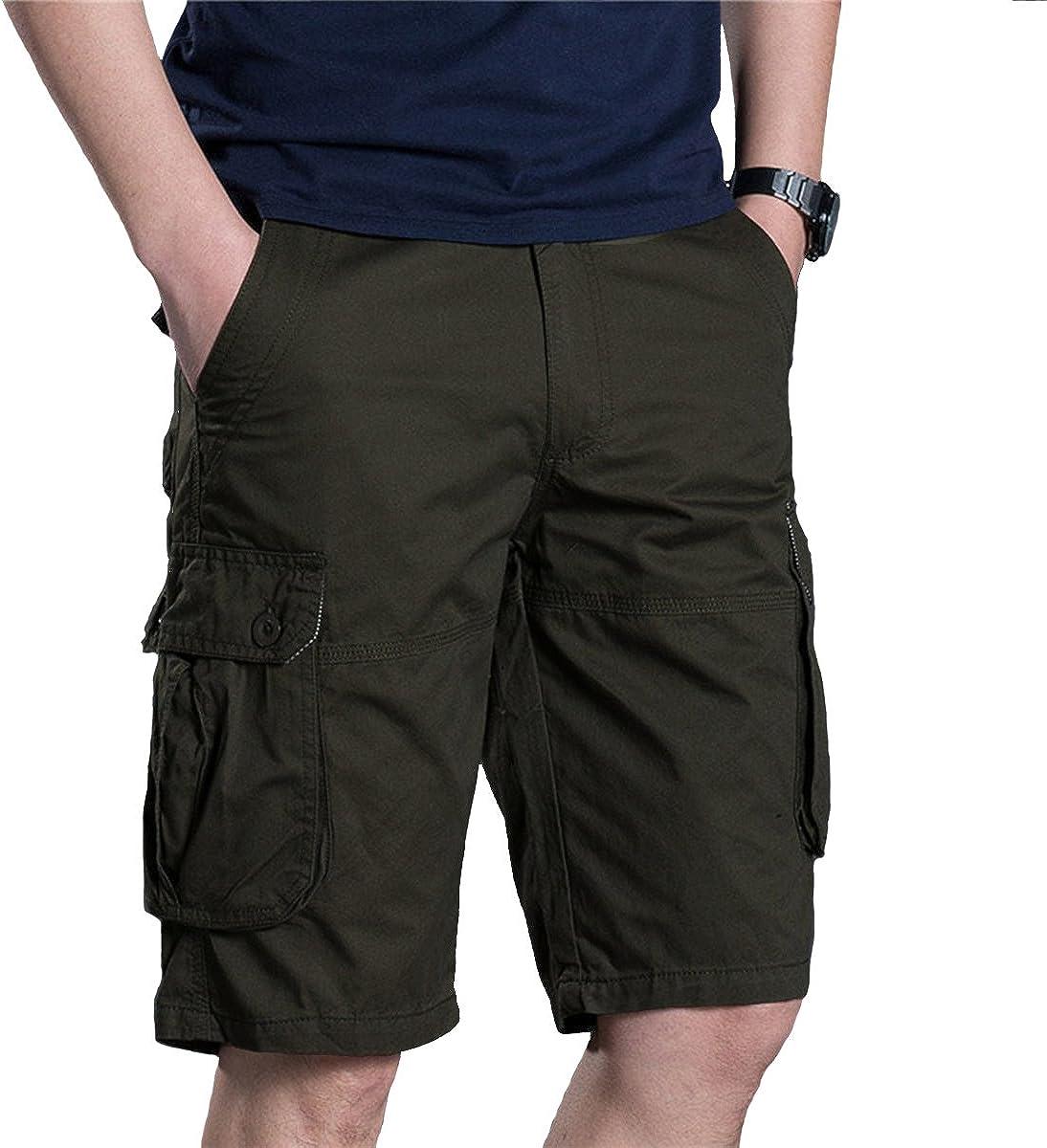 Meerway Bermuda Cargo Short Pantaloncini da Uomo Vintage Corti Bermuda Shorts