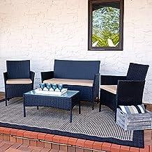 Sunnydaze Enmore Wicker Rattan 4-Piece Lounger Patio Furniture Set with Tan Cushions