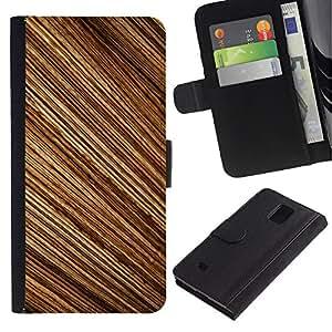 Billetera de Cuero Caso Titular de la tarjeta Carcasa Funda para Samsung Galaxy Note 4 SM-N910 / Pattern Random Stripes Wood Design Brown / STRONG