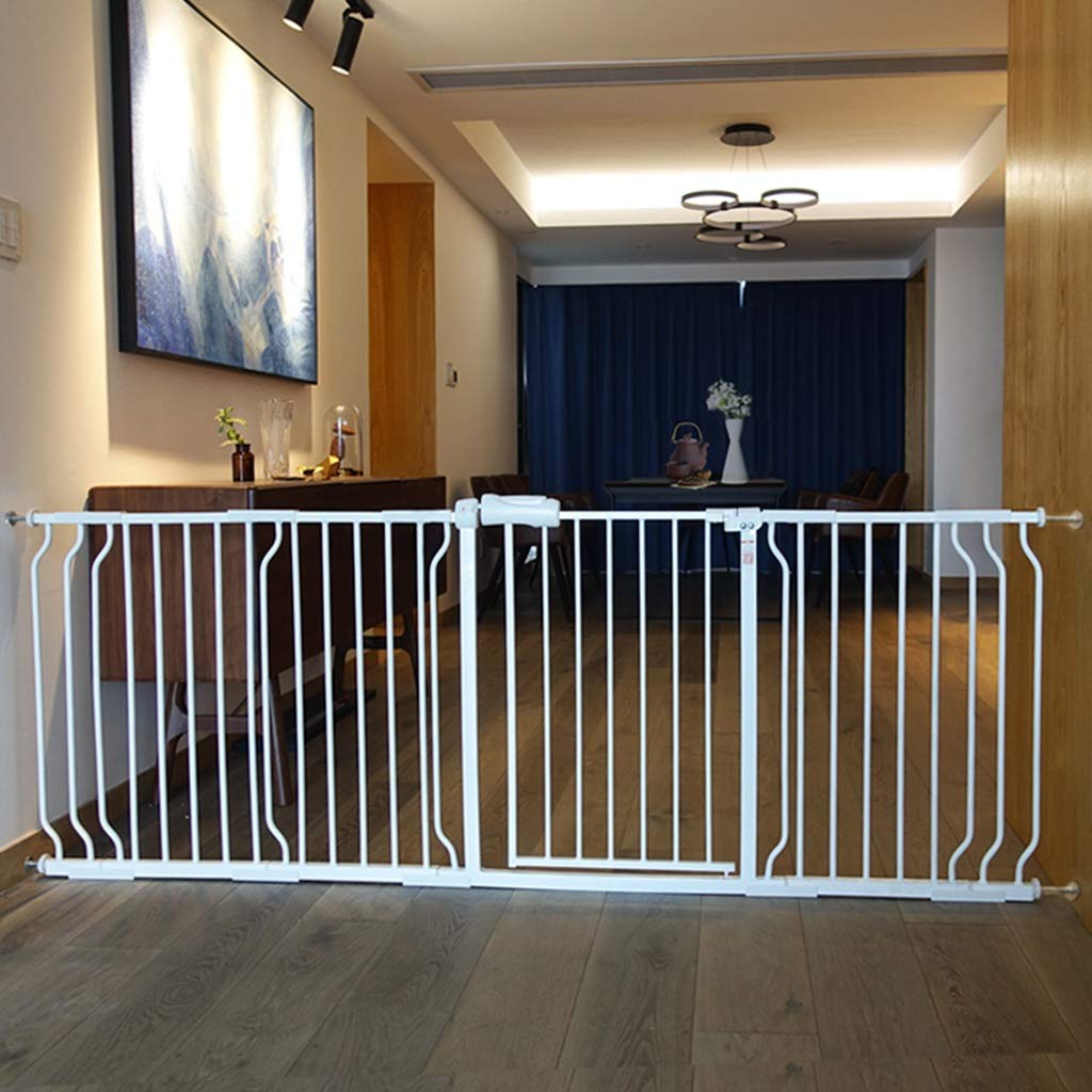 Extra Wide Baby Gates for Stairs Doorways, Wall Protector White Metal Pet Gate with Cat/Dog Door, 61-265.9cm (Size : 61-69.9cm) qiangzi