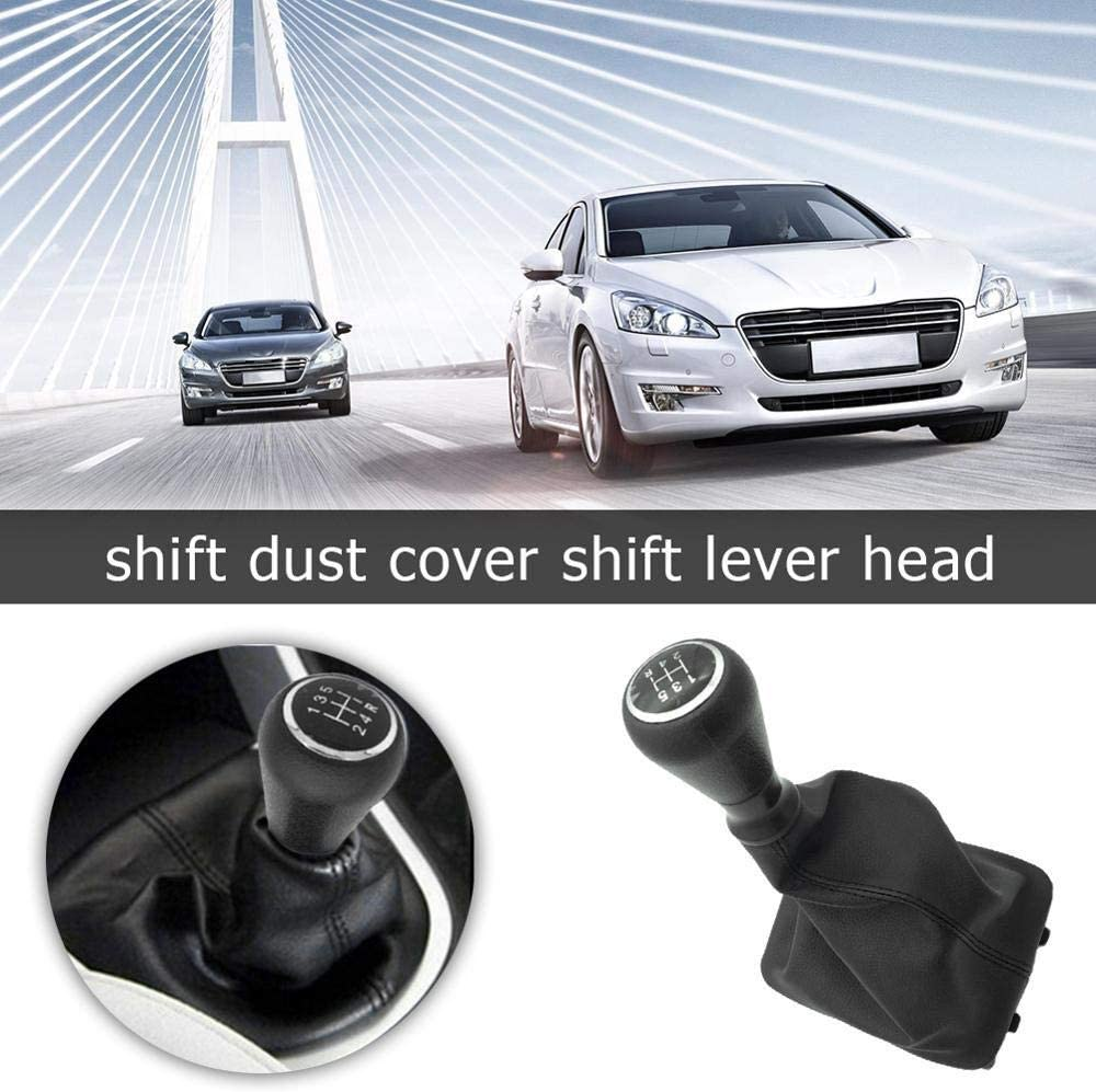 Levier DE Vitesses DE Voiture 5 Vitesses Speed Shift Bouton avec des Colliers Levier de Vitesses poussi/ère Anti-poussi/ère Couverture//for Peugeot 206 406 Color : Black