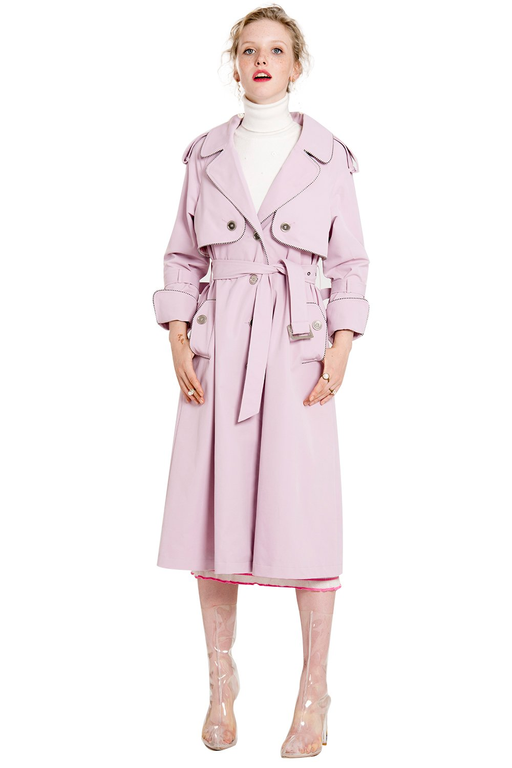 YIGELILA British Style Long Coat with Belt