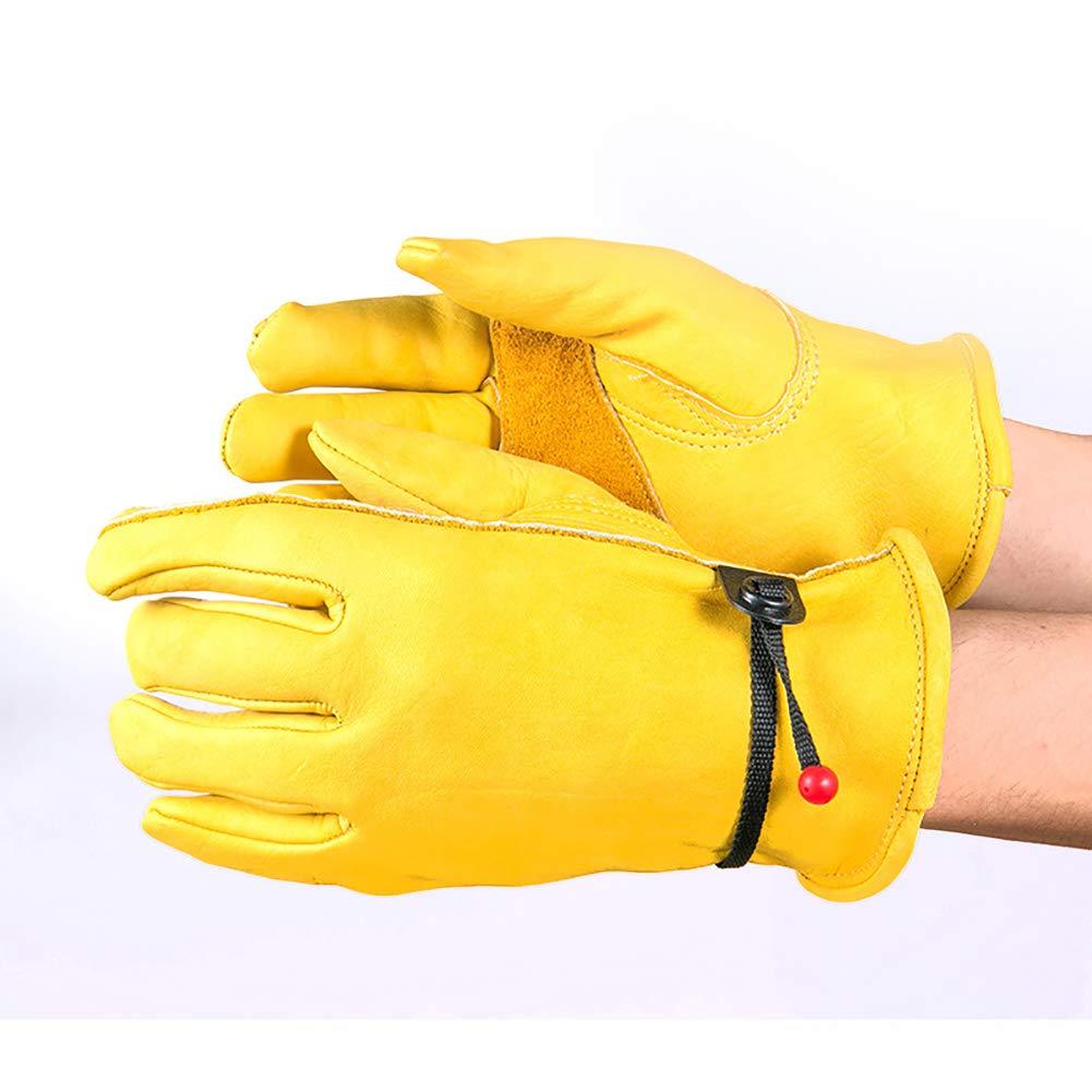 S-XL HGJ91 ajustados 2 M: 9.5 Guantes de trabajo de jardiner/ía de piel de vaca impermeables W amarillo para hombres y mujeres x 4.7 L para deportes al aire libre reforzados