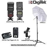 Digitek Photography Studio Kit Speedlite Camera Flash, Triggers, Umbrella, Bracket & Light Stand