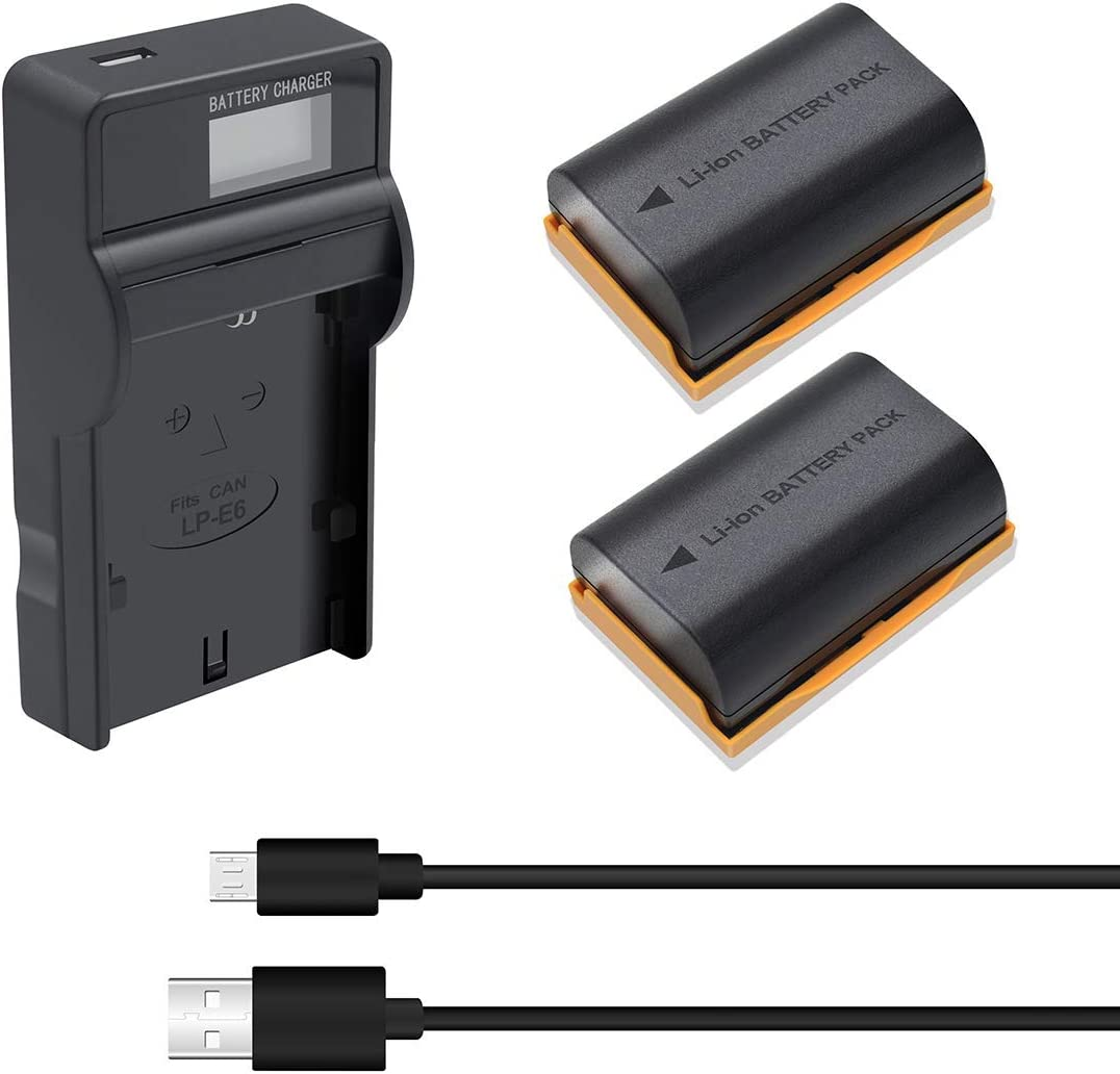 LP E6N Battery Charger 2Pack Li ion