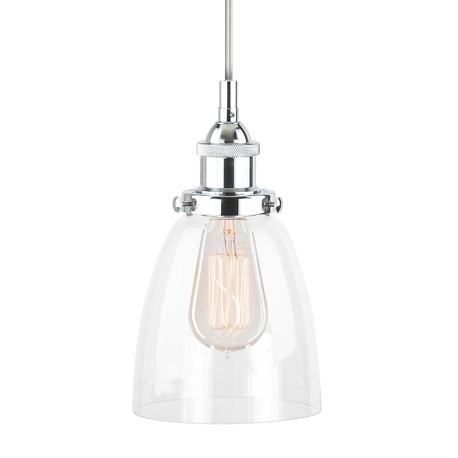 Fiorentino polished chrome one light industrial factory pendant fiorentino polished chrome one light industrial factory pendant lamp with clear glass shade linea di liara ll p281 pc amazon aloadofball