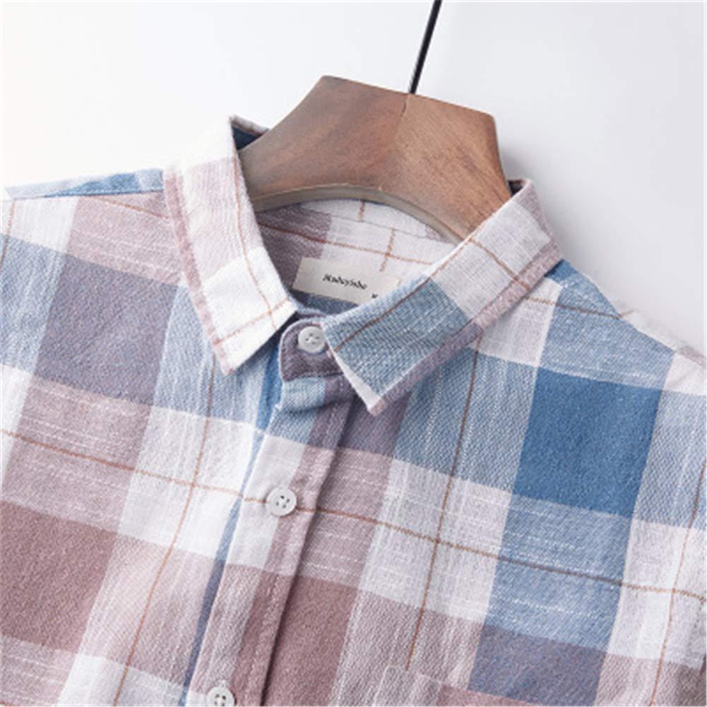 TQF1 Mens Cotton Square Collar Long Sleeve Casual Shirt