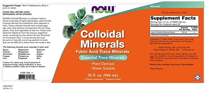 Now Foods Colloidal Minerals, Original - 946 Ml. - 946 ml: Amazon ...