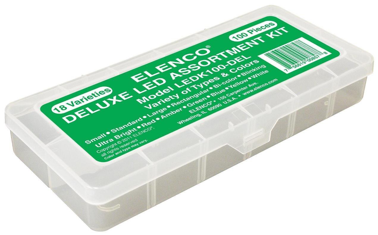 Elenco Electronics Ledk 100del 100 Pc Led Component Kit In Plastic Amazoncom Circuit Maker 200 Sound Plus Discovery Case 85off E Blox Builder