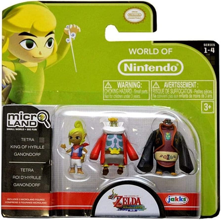 Jakks Pacific World of Nintendo, Micro Land, The Legend of Zelda: Windwaker HD, Tetra, King of Hyrule, and Gannondorf Figures