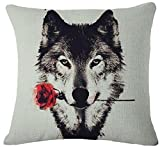 Nordic Simple Watercolor Ink painting Wild Animals Moonlight Wolf Courtship Bite Red Roses Cotton Linen Decorative Throw Pillow Case Cushion Cover Square 18 X18 Inches