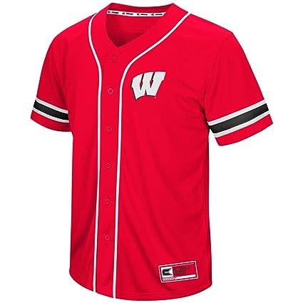 Amazon.com  Colosseum Mens Wisconsin Badgers Baseball Jersey  Sports ... 89c3ce567