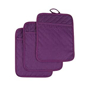 Anyi Oven Pot Holders with Pocket, 100% Cotton Oven Mitts Oven Pads with Feature of Heat Resistant Potholders Non Slip for Cooking Baking, Set of 3 (Purple)