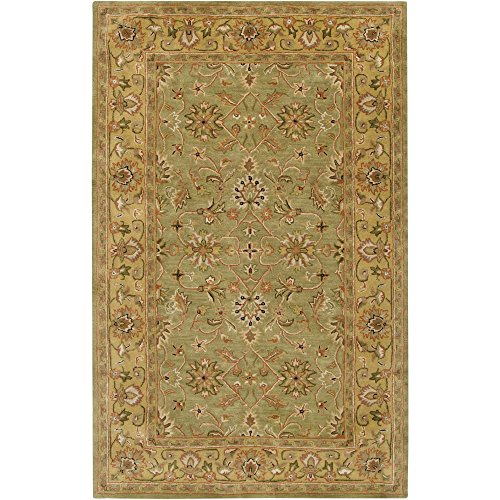Surya Crowne CRN-6001 Classic Hand Tufted 100% Wool Caper Green 6' x 9' Traditional Area Rug
