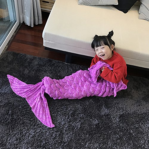 Costume Power Rangers Rose (Handmade Mermaid Tail Blanket Crochet , Ibaby888 All Seasons Warm Knitted Bed Blanket Sofa Quilt Living Room Sleeping Bag for Kids and Adults (Kids / 55.1