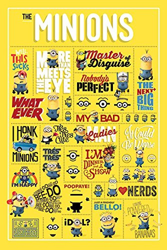 The Minions - Movie Poster / Print Infographic - Quotes, Icons, Minions & Graphics